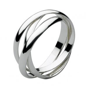 Sterling Silver 3mm Three Band Russian Wedding Ring