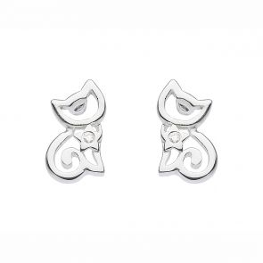 Sterling Silver and Cubic Zirconia Cute Cut-Out Kitten Studs
