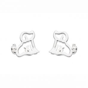 Sterling Silver and Cubic Zirconia Cute Cut-Out Puppy Studs