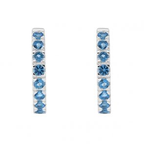 Sterling Silver and Blue Cubic Zirconia Huggy Hoops