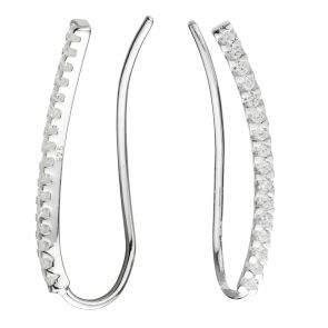 Sterling Silver and Cubic Zirconia Curved Bar Ear Climbers
