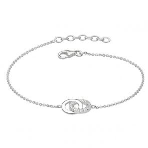 Sterling Silver and Cubic Zirconia Contrast Lovers Link Bracelet