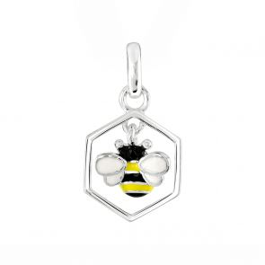 Sterling Silver Enamel Bee and Honeycombe Pendant