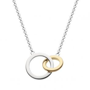 Sterling Silver and Gold Plate Two-Tone Lovers Link Necklace