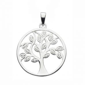 Sterling Silver and Cubic Zirconia Tree of Life Pendant