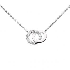 Sterling Silver and Cubic Zirconia Linked Circle Necklace (18