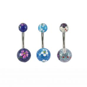Surgical Steel and Acrylic Glittery Flower Navel Bar
