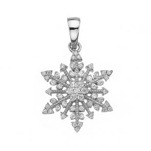 Sterling Silver and Cubic Zirconia Vintage Snowflake Pendant