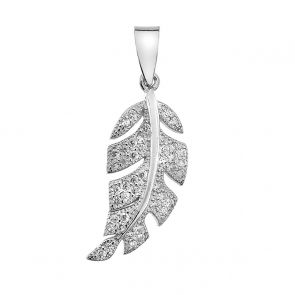 Sterling Silver and Cubic Zirconia Leaf Pendant