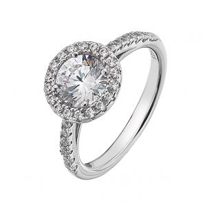 Sterling Silver and Cubic Zirconia Halo Solitaire Ring