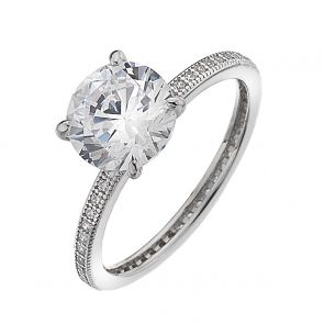 Sterling Silver Eternity Solitaire Ring