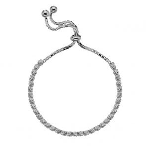 Sterling Silver and Claw Set Cubic Zirconia Slider Tennis Bracelet