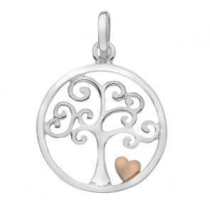Sterling Silver and Rose Gold Plated Tree of Life Pendant