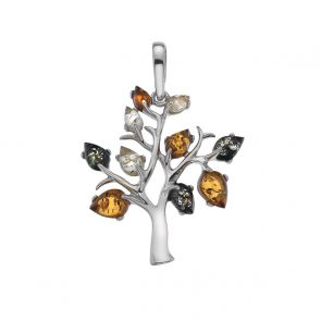 Sterling Silver and Mixed Amber Tree Pendant