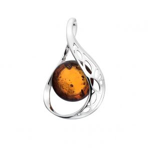 Sterling Silver and Amber Abstract Loop Pendant
