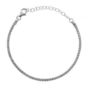 Girls Sterling Silver and Cubic Zirconia Square Set Tennis Bracelet