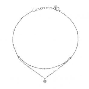Sterling Silver and Cubic Zirconia Layered Anklet