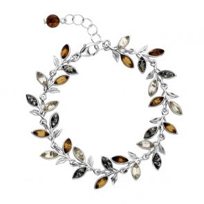 Sterling Silver and Mixed Amber Leaves Bracelet