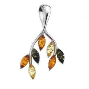 Sterling Silver and Mixed Amber Leaves Pendant