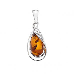 Sterling Silver and Amber Entangled Teardrop Pendant