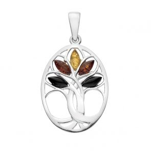 Sterling Silver and Mixed Amber Celtic Tree Pendant