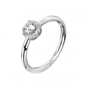 Sterling Silver and Cubic Zirconia Mini Halo Ring