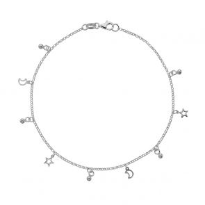 Sterling Silver Star and Moons Charm Anklet