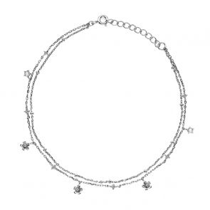 Sterling Silver and Cubic Zircnia Double Chain Flower Anklet