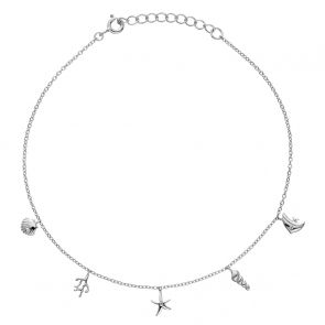 Sterling Silver Under The Sea Anklet