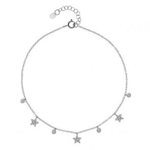 Sterling Silver and Cubic Zirconia Flower Anklet