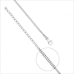 Sterling Silver Double Ball Chain Necklace.
