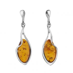 Sterling Silver and Amber Zig Zag Earrings