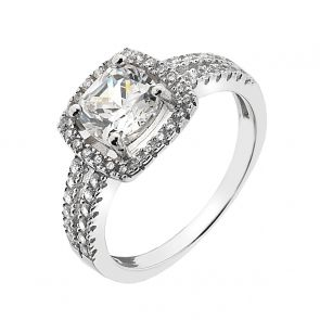 Square Micro-Set Cubic Zirconia and Sterling Silver Ring