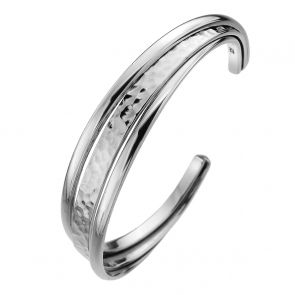 Sterling Silver Hammered 3 Band Cuff