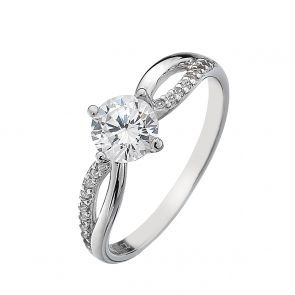 Sterling Silver and Cubic Zirconia Split Shank Solitaire