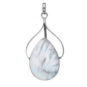 Sterling Silver and Shell Double Sided Ribbon Pendant