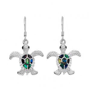 Sterling Silver and Paua Shell Turtle Drop Earrings