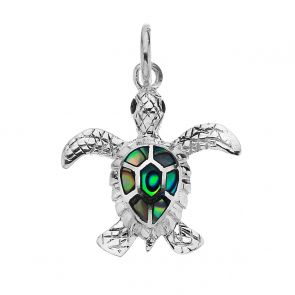 Sterling Silver and Paua Shell Baby Turtle Pendant