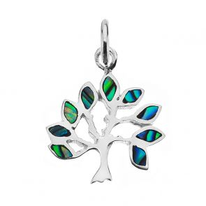 Sterling Silver and Paua Shell Small Tree Pendant