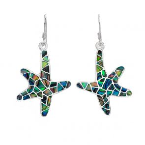 Sterling Silver and Paua Shell Starfish Earrings