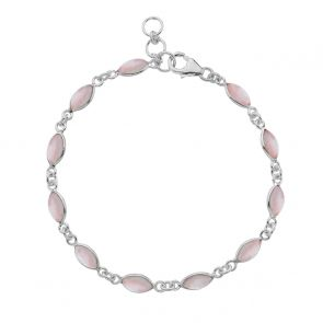 Sterling Silver and Rose Quartz Marquise Bracelet