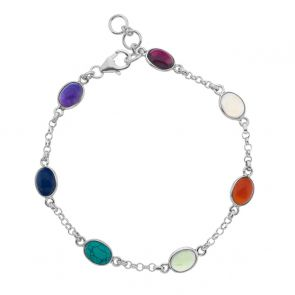 Sterling Silver and Mixed Stone Oval Chain Link Bracelet
