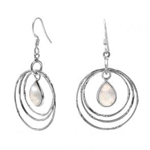 Sterling Silver and Rainbow Moonstone Retro Circle Earrings