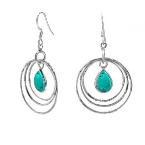 Sterling Silver and Turquoise Retro Circle Earrings