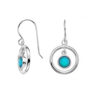 Sterling Silver and Blue Opal Floating Circles Drop Earrings