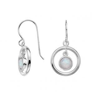 Sterling Silver and White Opal Floating Circles Drop Earrings