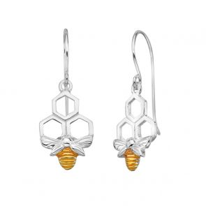 Sterling Silver and Gold Plate Bee Honeycomb Earrings