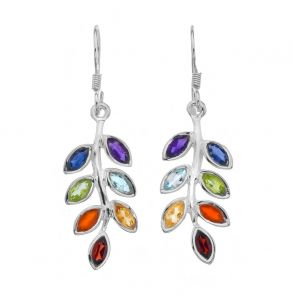 Sterling Silver and Mixed Stone Leaf Drop Earrings
