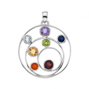 Sterling Silver and Mixed Stone Spiral Pendant
