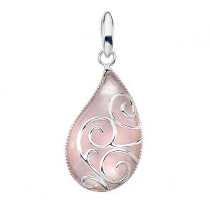 Sterling Silver and Rose Quartz Paisley Pendant